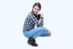 Adolescente alegre y moderno aislado Imagen de archivo libre de regalías