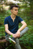 Adolescente all'aperto nel parco Fotografia Stock Libera da Diritti