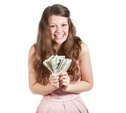 Adolescente allegro con i dollari in sue mani Fotografia Stock Libera da Diritti