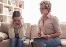 Adolescente allo psicoterapeuta Fotografia Stock