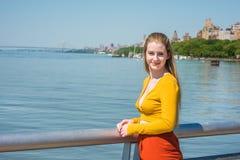 Adolescente americano que viaja en Nueva York en primavera Foto de archivo libre de regalías
