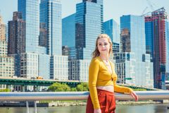 Adolescente americano que viaja en Nueva York en primavera Fotografía de archivo libre de regalías