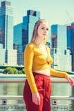 Adolescente americano que viaja en Nueva York en primavera Fotografía de archivo
