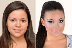 Adolescente antes y después de aplicar maquillaje Foto de archivo libre de regalías