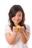 Adolescente asiático en blanco Foto de archivo