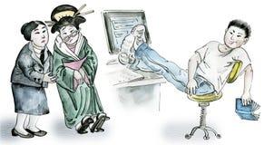 Adolescente asiático feliz que se sienta en sala de clase stock de ilustración
