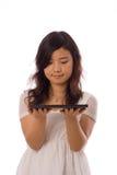 Adolescente asiatico nel bianco Fotografia Stock Libera da Diritti