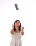 Adolescente asiatico nel bianco Fotografia Stock
