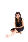 Adolescente asiatico in pannello esterno nero isolato Fotografie Stock Libere da Diritti