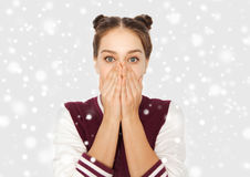 Adolescente asustado Imagen de archivo libre de regalías