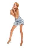 Adolescente atractivo brillante en alineada azul Fotografía de archivo libre de regalías