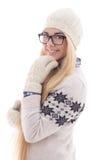 Adolescente atractivo con el pelo largo hermoso en invierno caliente Foto de archivo libre de regalías