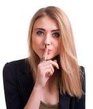 Adolescente atractivo que gesticula silencio Fotos de archivo