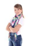 Adolescente atractivo que se coloca sobre blanco Imagen de archivo libre de regalías