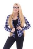 Adolescente atrativo nos monóculos com cabelo longo bonito p Fotografia de Stock