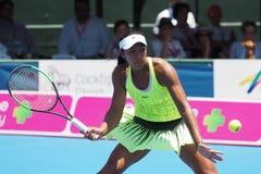 Adolescente australiano Destanee Aiava del tenis que se prepara para Abierto de Australia en el torneo clásico de la exposición d Foto de archivo libre de regalías