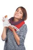 Adolescente avec la marionnette gentille Images libres de droits