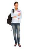 Adolescente avec le sac à dos et les livres Images libres de droits