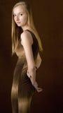 Adolescente bastante rubio en alineada larga Imagen de archivo libre de regalías