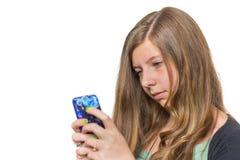 Adolescente biondo che chiama con il telefono cellulare Fotografia Stock Libera da Diritti