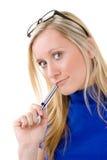 Adolescente bonito con el lápiz labial Imagen de archivo