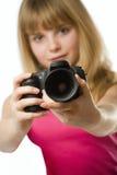 Adolescente bonito con la cámara de la foto Fotografía de archivo