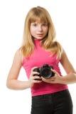 Adolescente bonito con la cámara de la foto Fotografía de archivo libre de regalías