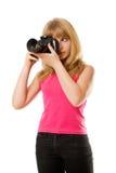 Adolescente bonito con la cámara de la foto Foto de archivo
