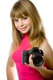 Adolescente bonito con la cámara de la foto Fotos de archivo libres de regalías