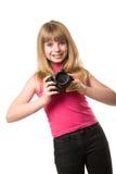 Adolescente bonito con la cámara de la foto Imágenes de archivo libres de regalías