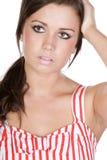 Adolescente bonito con la expresión triste en su cara Fotografía de archivo libre de regalías