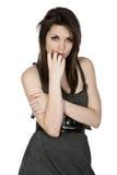 Adolescente bonito en alineada gris Imagenes de archivo