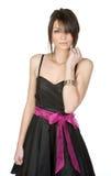 Adolescente bonito en alineada negra Foto de archivo libre de regalías