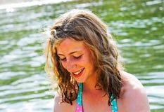 Adolescente bonito en la playa Fotos de archivo libres de regalías