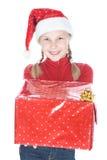 Adolescente bonito en sombrero del ayudante de santa Fotografía de archivo libre de regalías