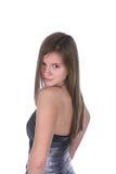 Adolescente bonito en vestido de plata sin tirantes Fotografía de archivo libre de regalías