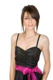 Adolescente bonito no vestido preto Imagens de Stock Royalty Free