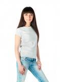 Adolescente caucásico blanco desgastando una camiseta limpia Imágenes de archivo libres de regalías