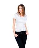 Adolescente caucásico blanco desgastando una camiseta limpia Fotos de archivo