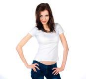Adolescente caucásico blanco desgastando una camiseta limpia Foto de archivo
