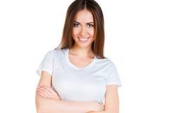 Adolescente caucásico blanco desgastando una camiseta limpia Imagen de archivo