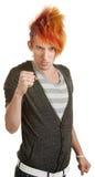 Adolescente caucásico con los puños apretados Fotografía de archivo libre de regalías