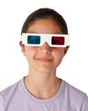 Adolescente caucásico joven con los vidrios 3d Fotos de archivo libres de regalías