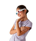 Adolescente caucasiano novo com vidros 3d Foto de Stock Royalty Free