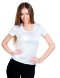 Adolescente caucásico blanco desgastando una camiseta limpia Fotos de archivo libres de regalías