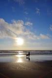 Adolescente che cammina il suo cane lungo la spuma fotografia stock