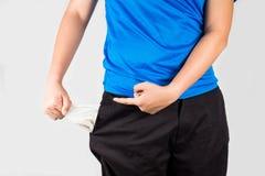 Adolescente che estrae e che indica le sue tasche vuote Fotografia Stock Libera da Diritti
