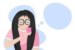 Adolescente che gioca telefono e che pensa, stile di vita che si rilassa, studente, personaggi dei cartoni animati progettazione  illustrazione vettoriale