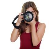 Adolescente che prende le fotografie con una macchina fotografica professionale Fotografia Stock Libera da Diritti