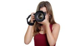 Adolescente che prende le fotografie con una macchina fotografica professionale Fotografie Stock